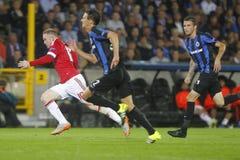 Wayne Rooney Champion League FC Brügge - Manchester United Lizenzfreies Stockbild