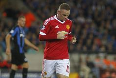 Wayne Rooney Champion League FC Brugge - Manchester United Royalty-vrije Stock Foto's
