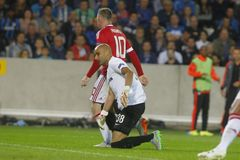 Wayne Rooney Champion League FC Brugge - Manchester United Royalty-vrije Stock Foto