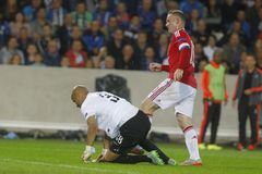 Wayne Rooney Champion League FC Brugge - Manchester United Royalty-vrije Stock Foto's