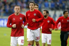 Wayne Rooney and Matteo Darmian Champion League FC Bruges - Manchester United Stock Photo