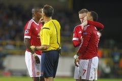 Wayne Rooney y Memphis Depay Champion League FC Brujas - Manchester United Fotos de archivo