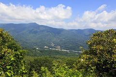 Waynesville, North Carolina, View from the Mountains. View of Waynesville in the summer, from the Blue Ridge Parkway with the rhododendron in bloom stock photos