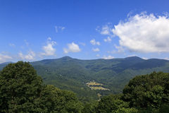 Waynesville, Town in the Mountains. View of Waynesville in the summer, from the Blue Ridge Parkway stock photos