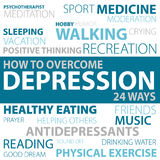 Ways how to overcome depression vector illustration