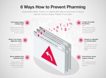6 ways how to prevent pharming online fraud template. Simple Vector infographic for 6 ways how to prevent pharming online fraud template isolated on light Stock Images