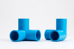 3 ways plastic pipe. 3 ways plastic pipe fittings Stock Photo