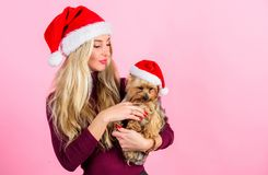 Ways to have merry christmas with pets. Girl attractive blonde hold dog pet pink background. Woman with puppy wear santa. Hat. Celebrate christmas with pets stock images