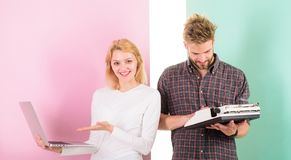 Ways to sell your old stuff for most money. Woman with modern laptop and man with old retro typewriter. Why do you keep. Outdated stuff. Get rid of junk. Use stock images