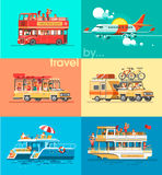 Ways of traveling. Trip to world by different vehicles. Travel by car, by plane, by boat, on the SUV. Stock Images