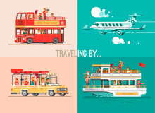 Ways of traveling. Trip to world by different vehicles. Travel by car, by plane, by boat, on the SUV. 3d illustration set Stock Photos