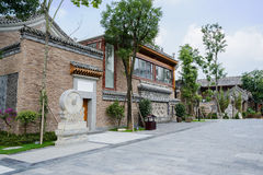 Wayside archaised Chinese building on sunny day Royalty Free Stock Image