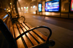 Wayside bench at midnight Stock Image
