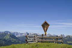 Wayside cross in Bavarian mountains Stock Image