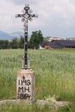Wayside cross metal - background rural community Stock Photos