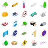 Wayside icons set, isometric style. Wayside icons set. Isometric set of 25 wayside vector icons for web  on white background Royalty Free Stock Photos