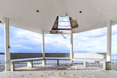 Wayside pavilion roof broken, natural disaster Royalty Free Stock Photos