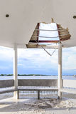 Wayside pavilion roof broken, natural disaster Royalty Free Stock Photography