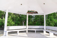 Wayside pavilion roof broken, natural disaster Royalty Free Stock Photo