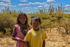 Wayuu Children. LA GUAJIRA, COLOMBIA - AUGUST 5: Two Wayuu Indian children in the desert in La Guajira, Colombia on August 5, 2012 Stock Image