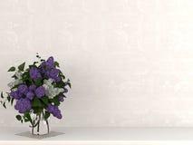 Waza kwiaty przeciw beż ścianie Zdjęcia Stock
