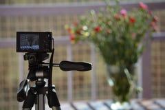 Waza kwiaty przez obiektywu ścisła kamera fotografia stock