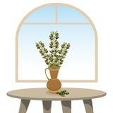 Waza z gałązkami oliwnymi w pokoju Zdjęcia Stock