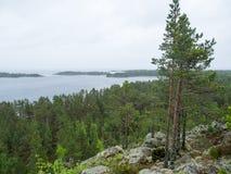 Wazige dag op meer Ladoga Stock Foto