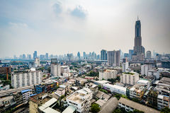 Wazige mening van het Ratchathewi-District, in Bangkok, Thailand Stock Fotografie