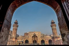 Wazir可汗清真寺全景  图库摄影