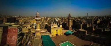 Wazir可汗清真寺,拉合尔,巴基斯坦空中全景  库存照片
