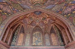 Islamic Patterns in the interiors of Wazir Khan Mosque. Wazir Mosque is a Historical Mosque Located in Walled City, Lahore, Punjab, Pakistan royalty free stock images