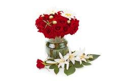 wazowe bukiet róże szklane czerwone Zdjęcia Royalty Free