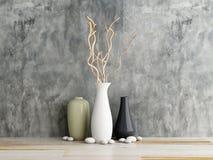 Wazowy ceramics na drewnianym i betonowej ścianie ilustracja wektor