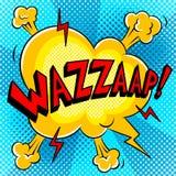 Wazzaap word comic book pop art vector. Wazzaap word pop art retro vector illustration. Comic book style imitation Stock Images