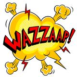 Wazzaap word comic book pop art vector. Wazzaap word pop art retro vector illustration. Isolated image on white background. Comic book style imitation Stock Photo