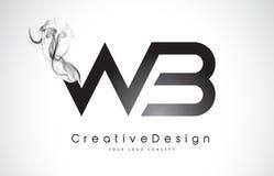 WB Brief Logo Design met Zwarte Rook Royalty-vrije Stock Afbeelding