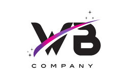 WB W B Black Letter Logo Design with Purple Magenta Swoosh Royalty Free Stock Images