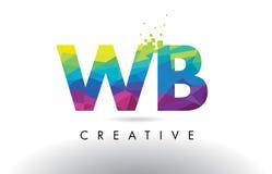 WB W B Colorful Letter Origami Triangles Design Vector. Stock Photo