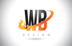 WB W B Letter Logo with Fire Flames Design and Orange Swoosh. Royalty Free Stock Image