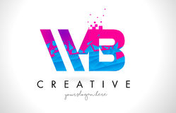 WB W B Letter Logo with Shattered Broken Blue Pink Texture Desig Stock Photography