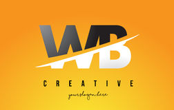 WB W B Letter Modern Logo Design with Yellow Background and Swoo Stock Images