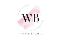 WB W B Watercolor Letter Logo Design with Circular Brush Pattern Royalty Free Stock Images