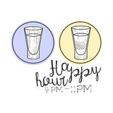 WBar Happy Hour Promotion Sign Design Template Hand Drawn Hipster Sketch With Two Shots In Round Frames Royalty Free Stock Photo