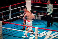 WBC EPBC boxing championship in Moscow. MOSCOW - 18 MARCH, 2016 : Professional boxing show Fight For The Future. Jheritz Chaves versus Vage Sarukhanyan (won) Stock Photo
