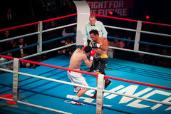 WBC EPBC boxing championship in Moscow. MOSCOW - 18 MARCH, 2016 : Professional boxing show Fight For The Future. Jheritz Chaves versus Vage Sarukhanyan (won) Stock Image
