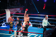 WBC EPBC boxing championship in Moscow. MOSCOW - 18 MARCH, 2016 : Professional boxing show Fight For The Future. Jheritz Chaves versus Vage Sarukhanyan (won) Royalty Free Stock Images