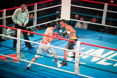 WBC EPBC boxing championship in Moscow. MOSCOW - 18 MARCH, 2016 : Professional boxing show Fight For The Future. Jheritz Chaves versus Vage Sarukhanyan (won) Royalty Free Stock Photos