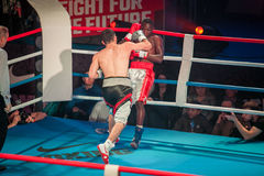 WBC EPBC boxing championship in Moscow. MOSCOW - 18 MARCH, 2016 : Professional boxing show Fight For The Future. Jheritz Chaves versus Vage Sarukhanyan (won) Stock Photography