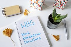 WBS-Arbeits-Zusammenbruch-Struktur geschrieben in Notizbuch lizenzfreie stockbilder